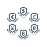 Symboler för eurodollarYen Yuan Bitcoin Ruble Pound Mainstream valutor på skölden undertecknar Isolat för mall för vektorillustra Royaltyfri Fotografi