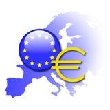 Symboler för europeisk union och euro Arkivfoton