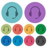 Symboler för färghörlurar med mikrofonlägenhet Arkivfoto