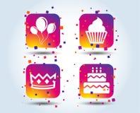 Symboler för födelsedagparti Kaka- och muffinsymbol stock illustrationer