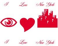 Symboler för förälskelse N Y Arkivfoto