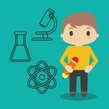 Symboler för för tecknad filmpojkeblyertspenna och kemikalie royaltyfri illustrationer