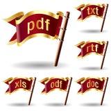 symboler för förlagef8orlängningsmapp Stock Illustrationer