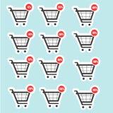 Symboler för försäljning för shoppingvagn royaltyfri illustrationer