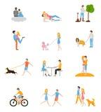 Symboler för familjlägenhetstil Royaltyfria Bilder