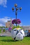 Symboler för final 2018 för liga för UEFA-mästare i Kiev, Ukraina, Arkivfoton