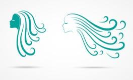 Symboler för flickahårmode royaltyfri illustrationer