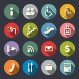 Symboler för flygplatsservicelägenhet royaltyfri illustrationer