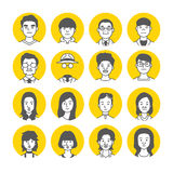 Symboler för folkAvatarframsida Royaltyfri Foto