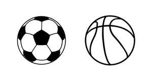 Symboler för fotbollboll och basketboll Bollvektorsymboler isolerade bollar Klumpa ihop sig p? vitbakgrund stock illustrationer