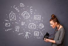 Symboler för fotografi för fotografflickaskytte Arkivbild