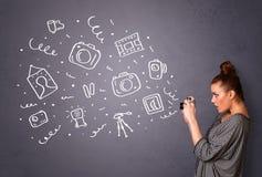 Symboler för fotografi för fotografflickaskytte Royaltyfria Bilder
