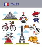 Symboler för Frankrike loppturism och den berömda franskan odlar gränsmärkevektorsymboler vektor illustrationer