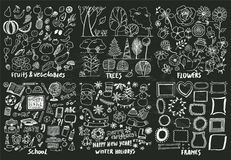 Symboler för frukter för skollov för blommaramträd stock illustrationer