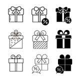 Symboler för gåvarabattvektor ställde in på vit bakgrund royaltyfri illustrationer