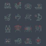 Symboler för gastrointestinalt område för cancer vektor illustrationer