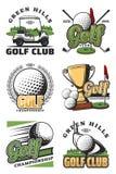 Symboler för golflek och för sportklubba royaltyfri illustrationer