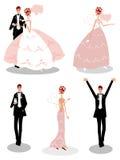 Symboler för gruppbröllopfolk Royaltyfri Bild