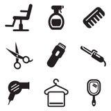 Symboler för hårsalong stock illustrationer