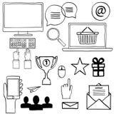 Symboler för handattraktionklotter Begreppsinternet, arbete, Arkivfoton