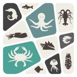 Symboler för havsliv royaltyfri illustrationer