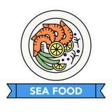Symboler för havsmat Royaltyfria Bilder