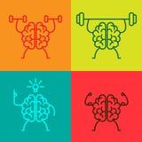 Symboler för hjärnmakt Stock Illustrationer