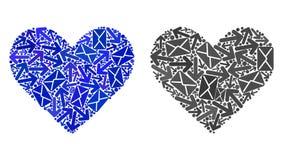 Symboler för hjärta för förälskelse för stolperörelsecollage royaltyfri illustrationer