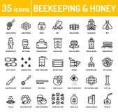 Symboler för honungbiodlingbiodling royaltyfri illustrationer