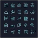 Symboler för hus- och fastighetmaterielvektor Arkivbild