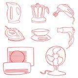 Symboler för hushållkökaplliance Royaltyfri Bild