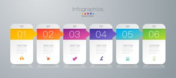 Symboler för för Infographics designvektor och affär med 6 alternativ royaltyfri illustrationer