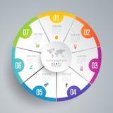Symboler för för Infographics designvektor och affär med 7 alternativ stock illustrationer