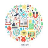 Symboler för infographicsen för lägenheten för biokemigenetikteknologi i cirkel - färga begreppsillustrationen för att sy räkning stock illustrationer