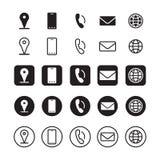 Symboler för information om kontakt, vektor royaltyfri illustrationer