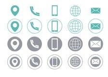 Symboler för information om kontakt för vektoraffärskort royaltyfri illustrationer