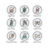 Symboler för ingrediensvarningsetikett Allergen gluten, laktos, sojaböna, havre, dagbok, mjölkar, sockrar, trans.-fett Vegetarisk stock illustrationer
