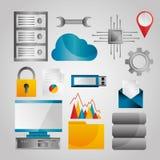 Symboler för inställningar för teknologi för nätverk för databas för dataanalys ställde in royaltyfri illustrationer