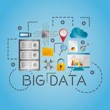 Symboler för inställningar för teknologi för nätverk för databas för dataanalys ställde in stock illustrationer