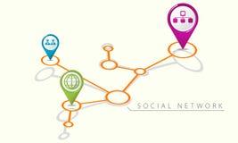 Symboler för internet för nätverk för översiktspekare sociala Royaltyfri Fotografi