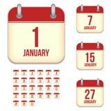 Symboler för Januari vektorkalender royaltyfri illustrationer