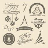 Symboler för jul och för nytt år och designbeståndsdelar Fotografering för Bildbyråer