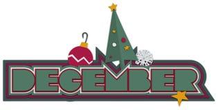 symboler för juldecember överskrift Arkivbilder