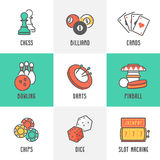 Symboler för kasinosport- och fritidlekar Arkivfoto