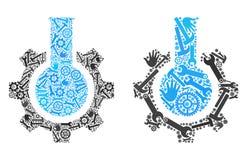 Symboler för kemisk bransch för collage av servicehjälpmedel vektor illustrationer