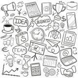Symboler för klotter för affärsidé skissar traditionella handen - gjord designvektor royaltyfri illustrationer
