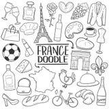 Symboler för klotter för det Frankrike loppet skissar traditionella handen - gjord designvektor vektor illustrationer