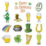 Symboler in för klotter för dag för St Patricks ställde handen drog, med trollet, krukan av guld- mynt, regnbågen, öl, växt av sl stock illustrationer