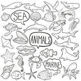 Symboler för klotter för havsdjur skissar traditionella handen - gjord designvektor stock illustrationer