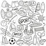 Symboler för klotter för havssportfilm skissar traditionella handen - gjord designvektor stock illustrationer